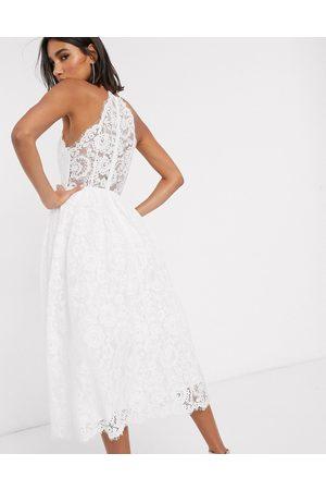 ASOS Valerie - Midi-brudekjole med blonder og halterneck