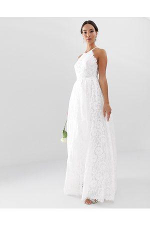 ASOS Amalie - Maxi-brudekjole med blonder og halterneck