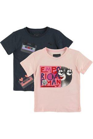 Emporio Armani Kortærmede - T-shirts - 2-pak - Navy/Rosa m. Print