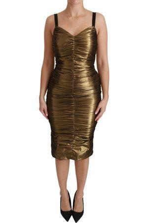 Dolce & Gabbana Metallic Stretch Bodycon Ruched Dress