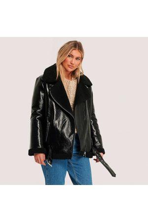 NA-KD Kvinder Jakker - Shiny teddy aviator jacket