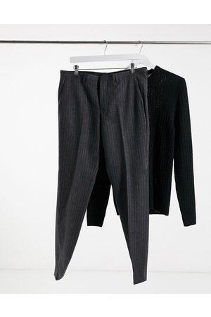 Shelby & Sons Koksgrå habitbukser med striber i smal pasform
