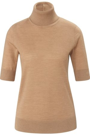 Peter Hahn Strikbluse rullekrave i 100% ren ny uld Fra beige