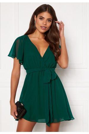 Goddiva Kvinder Casual kjoler - Flutter Skater Dress Green S (UK10)