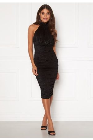 Ax Paris Kvinder Halterneckkjoler - Sparkle High Neck Rouch Midi Dress Black M (UK12)