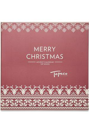 TOPECO Xmas Calendar 12p Sock Santa Underwear Socks Regular Socks Multi/mønstret