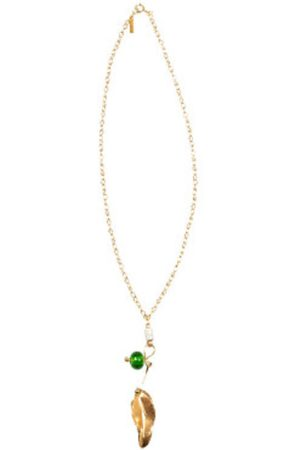 Marni Leaf and stones pendant necklace