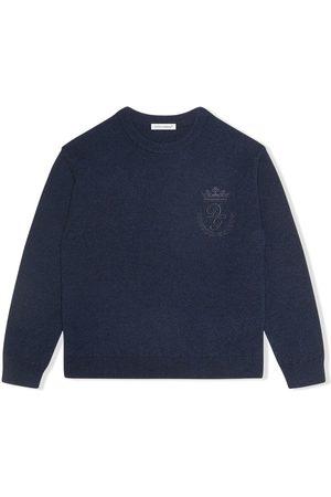 Dolce & Gabbana Strik - Logo-embroidered fine-knit jumper