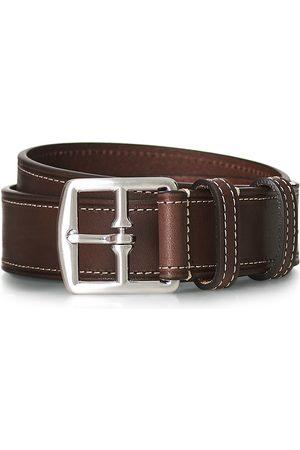 Anderson's Mænd Bælter - Bridle Stiched 3,5 cm Leather Belt Brown