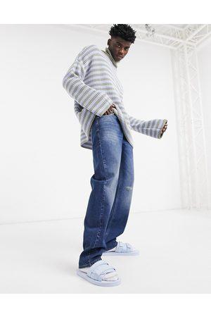 ASOS Mænd Slim - Original Fit-jeans i mørkeblå 90'er vask med slid