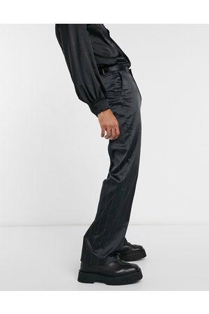 ASOS Smarte bukser i satin med vide ben og striber