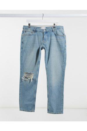 ASOS Lavtaljede slim-jeans med vintage midt-90'er-vask med knæskæring-Blå