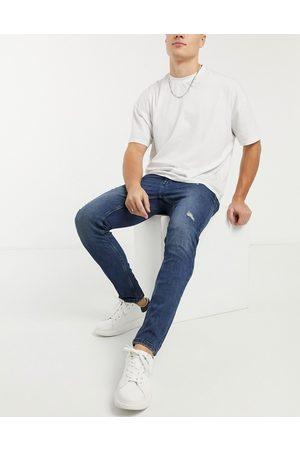 Only & Sons Mørkeblå slim-jeans med slidmærker