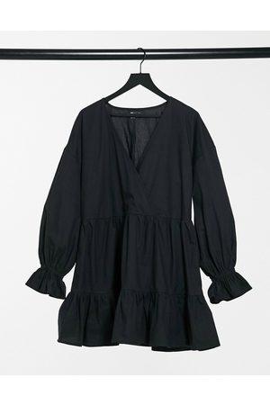 ASOS Kvinder Maxikjoler - , afslappet, bomulds-poplin slå-om mini smock-kjole med lange ærmer