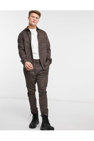 ASOS Mænd Chinos - Elegante, tapered bukser i nålestribet grå