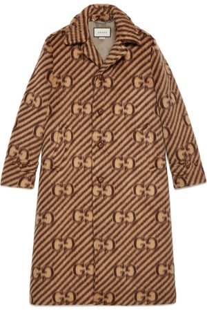 Gucci GG stripe wool coat with label