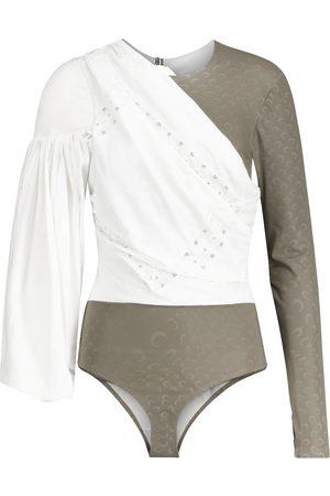 Marine Serre Kvinder Bodies - Jersey and cotton-poplin bodysuit
