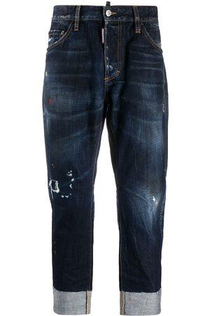 Dsquared2 Mænd Straight - Jeans med slitageeffekt og opslag