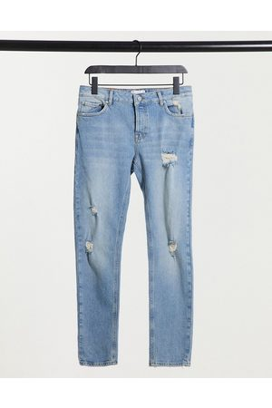 ASOS Skinny-jeans med flænger i lys vintage-vask-Blå