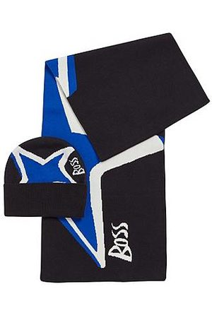 HUGO BOSS Star-artwork hat and scarf set in cotton-cashmere