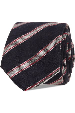 AN IVY Navy Grey Striped Wool Tie Slips