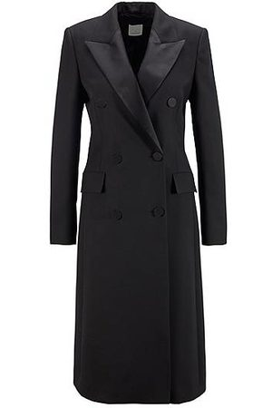 HUGO BOSS Long-length blazer coat in wool with silk lapels