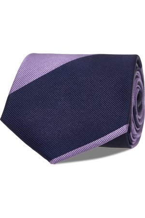 AN IVY Mænd Slips - Navy Purple Block Silk Tie Slips
