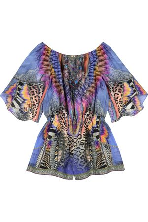 Camilla Piger Playsuits - Embellished printed cotton-blend playsuit