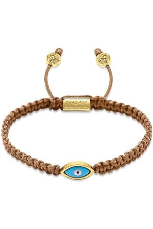 Nialaya Men's Light Brown String Bracelet with Gold Evil Eye