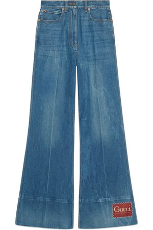 Gucci Kvinder Kassebukser - Washed denim flare trousers with label