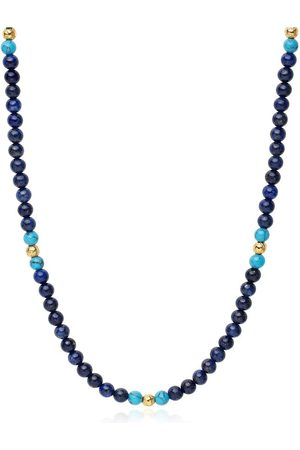Nialaya Men's Beaded Necklace with Blue Lapis, Bali Turquoise and Gold