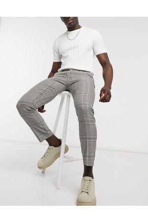 River Island Stenfarvede, elegante bukser i skinny pasform med tern-Stenfarvet