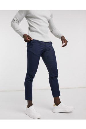 Burton Marineblå ternede habitbukser med smal pasform fra