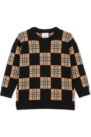 Burberry Chequer sweater i uld med ikonisk stribe