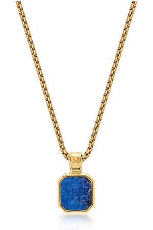 Nialaya Mænd Halskæder - Men's Gold Necklace with Square Blue Lapis Pendant