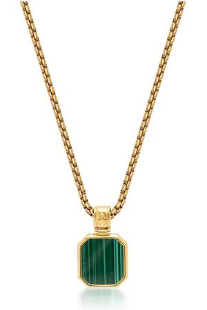 Nialaya Men's Gold Necklace with Square Malachite Pendant