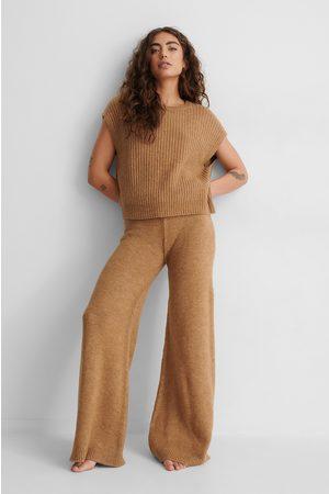 NA-KD Kvinder Kassebukser - Wide Knitted Trousers