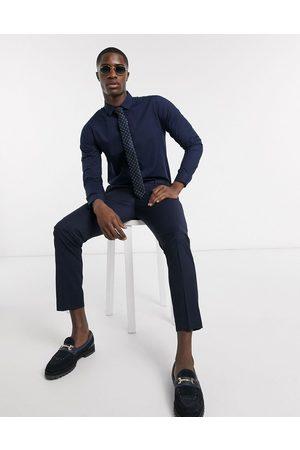 Bolongaro Mænd Langærmede - Klassisk skjorte i slim fit-Marineblå