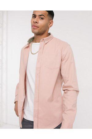 Brave Soul Langærmet twill-skjorte i pink-Lyserød