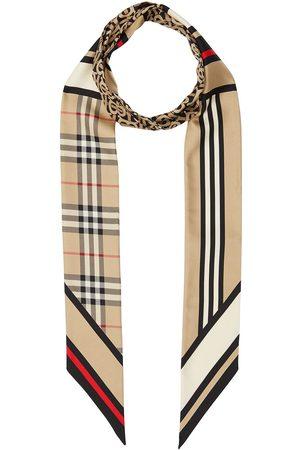 Burberry Smal silke-tørklæde med Montage-tryk