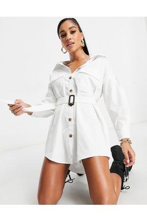 I saw it first Oversized skjortekjole med bælte