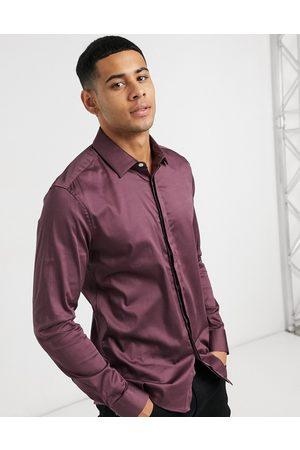 ASOS Slim fit satinskjorte i bærfarve