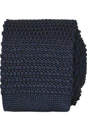 Amanda Christensen Knitted Silk Tie 6 cm Navy