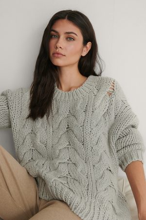 NA-KD Kvinder Strik - Wool Blend Round Neck Heavy Knitted Cable Sweater