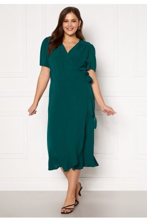 John Zack Short Sleeve Wrap Frill Curve Dress Green 48 (UK20)