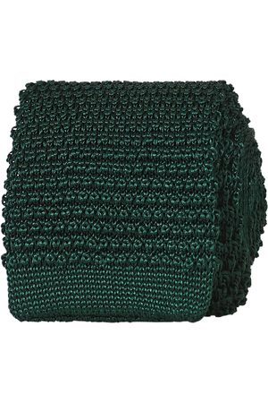 Amanda Christensen Mænd Slips - Knitted Silk Tie 6 cm Green