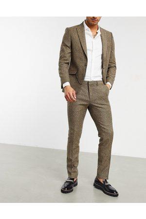 Shelby & Sons Slim habitbukser i lysebrun twill