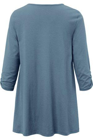 Green Cotton Kvinder Langærmede - Lang bluse 3/4-ærmer i 100% bomuld Fra blå