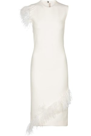 Christopher Kane Kvinder Midikjoler - Feather-trimmed wool-blend dress