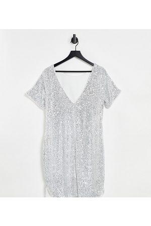 Jaded Rose Maternity Kvinder Festkjoler - T-shirt-minikjole i sølvfarvede pailletter